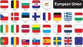 Square flags of European Union