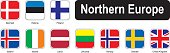 Square flags of northern Europe