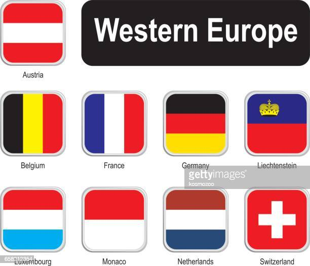 Square flags of western Europe