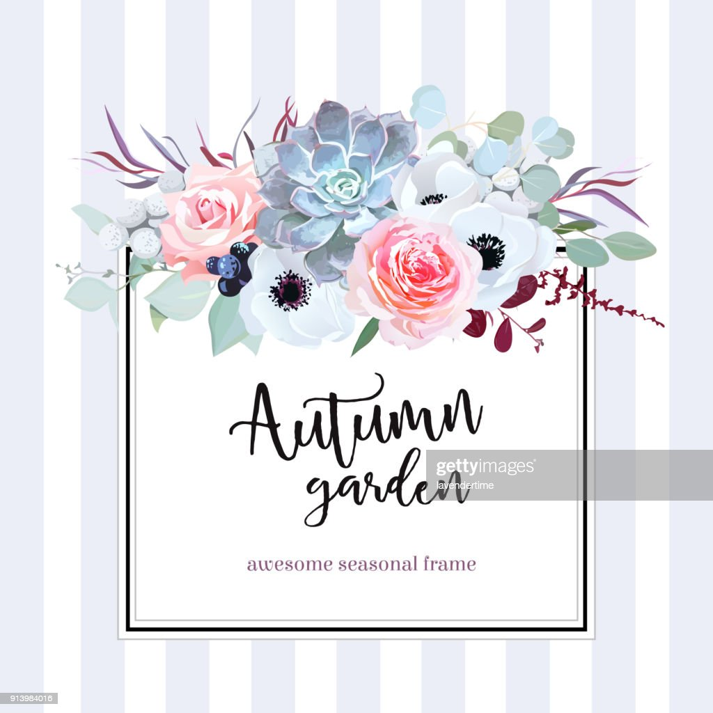 Square floral vector design card