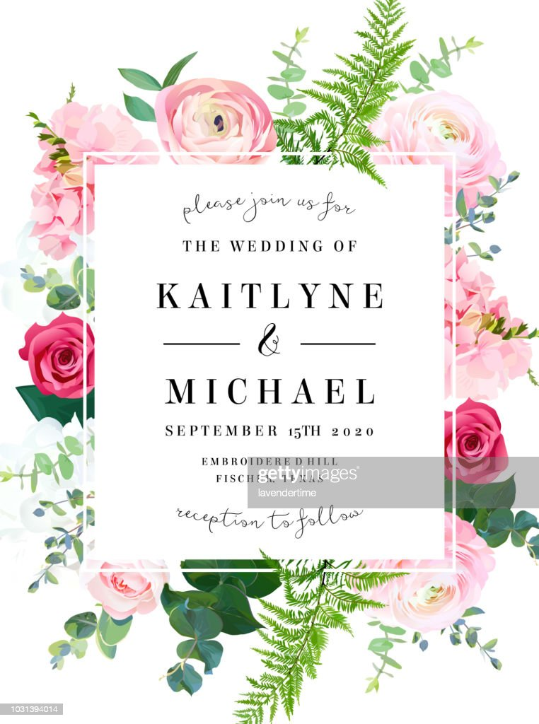 Square floral vector design frame