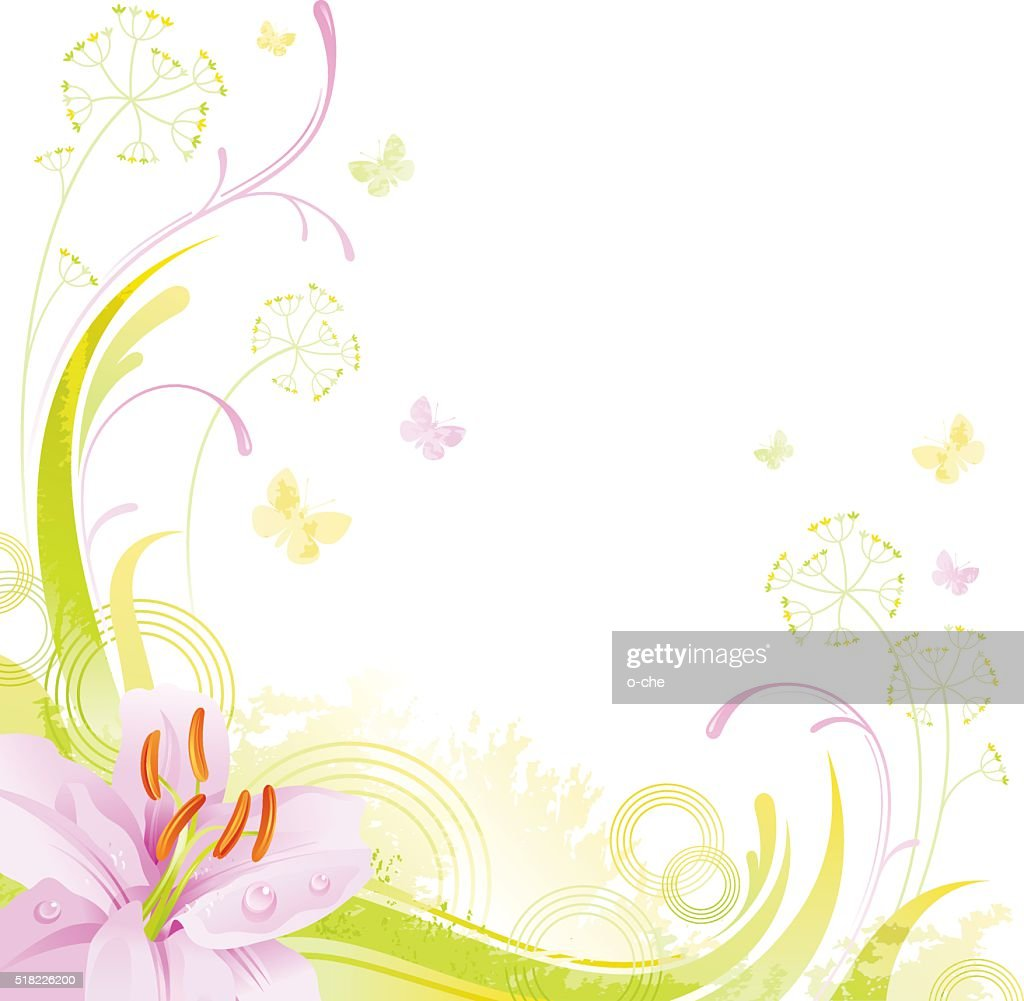 Square flower background with copyspace: pink Lilly