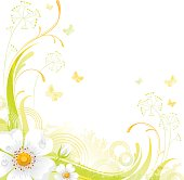Square flower background with copyspace: white Wild Rose
