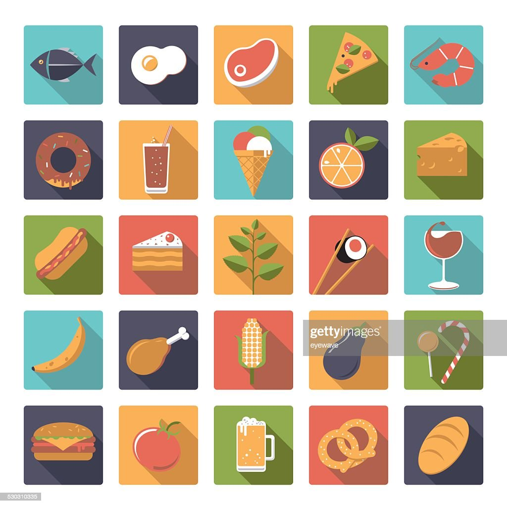 Square food icons vector set.