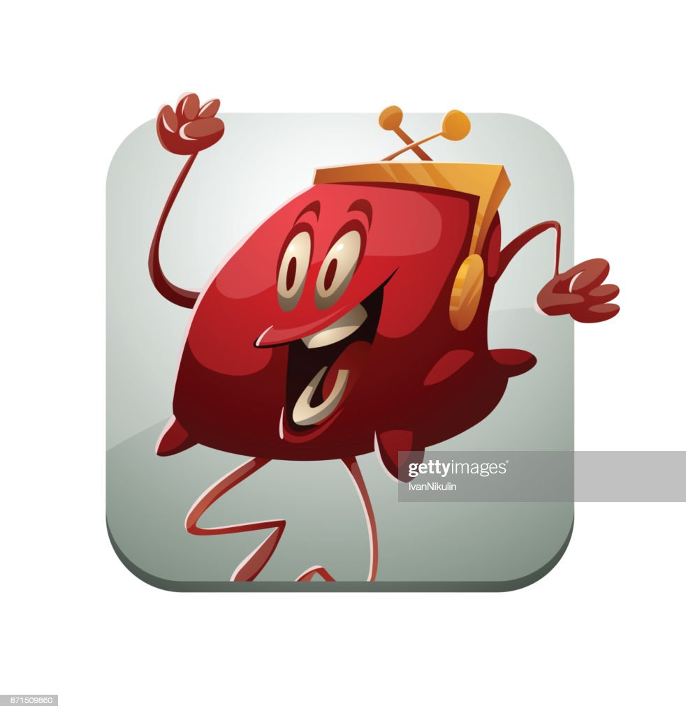 Square frame, funny red purse happily jumping