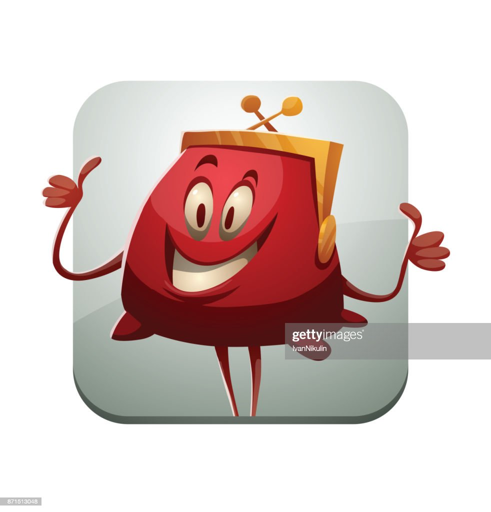 Square frame, funny red purse showing thumbs up