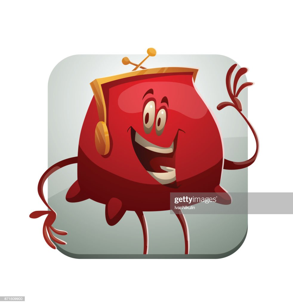 Square frame, funny red purse waving his hand