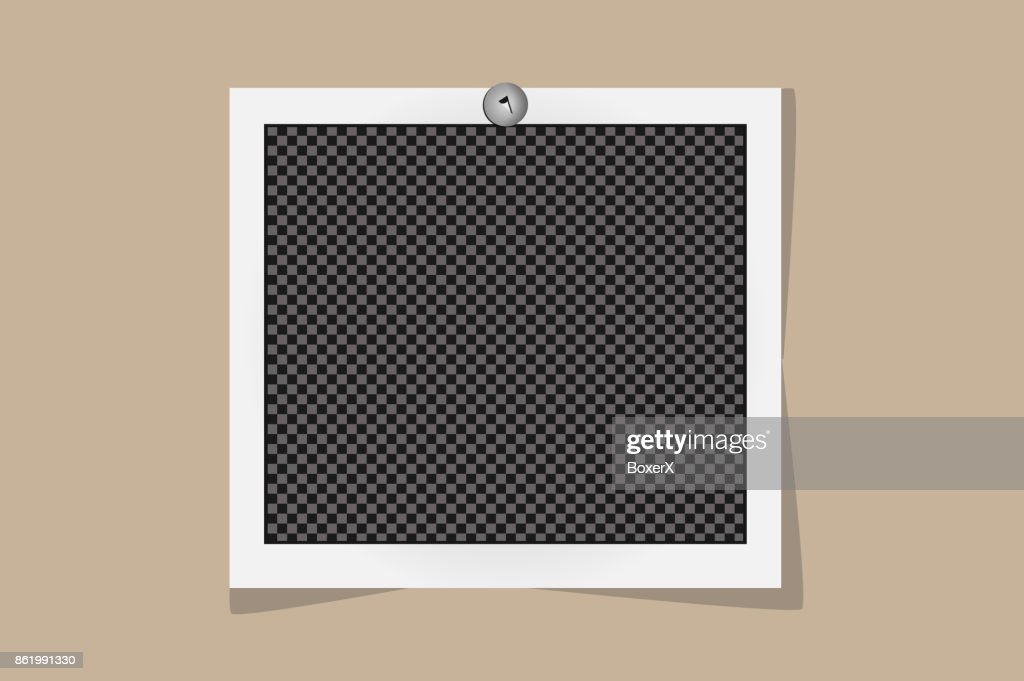 Square frame template on metal pin with shadows isolated on beige background. Vector illustration