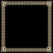 Square frame with 3d embossed effect. Ornate luxurious golden border in art deco style on black background. Elegant decorative label design