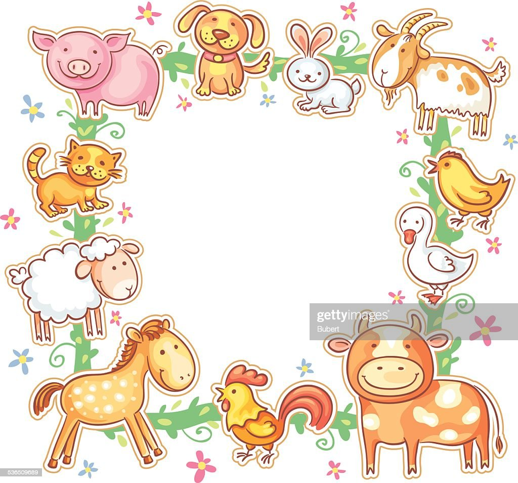 Square Frame With Farm Animals Vector Art | Getty Images