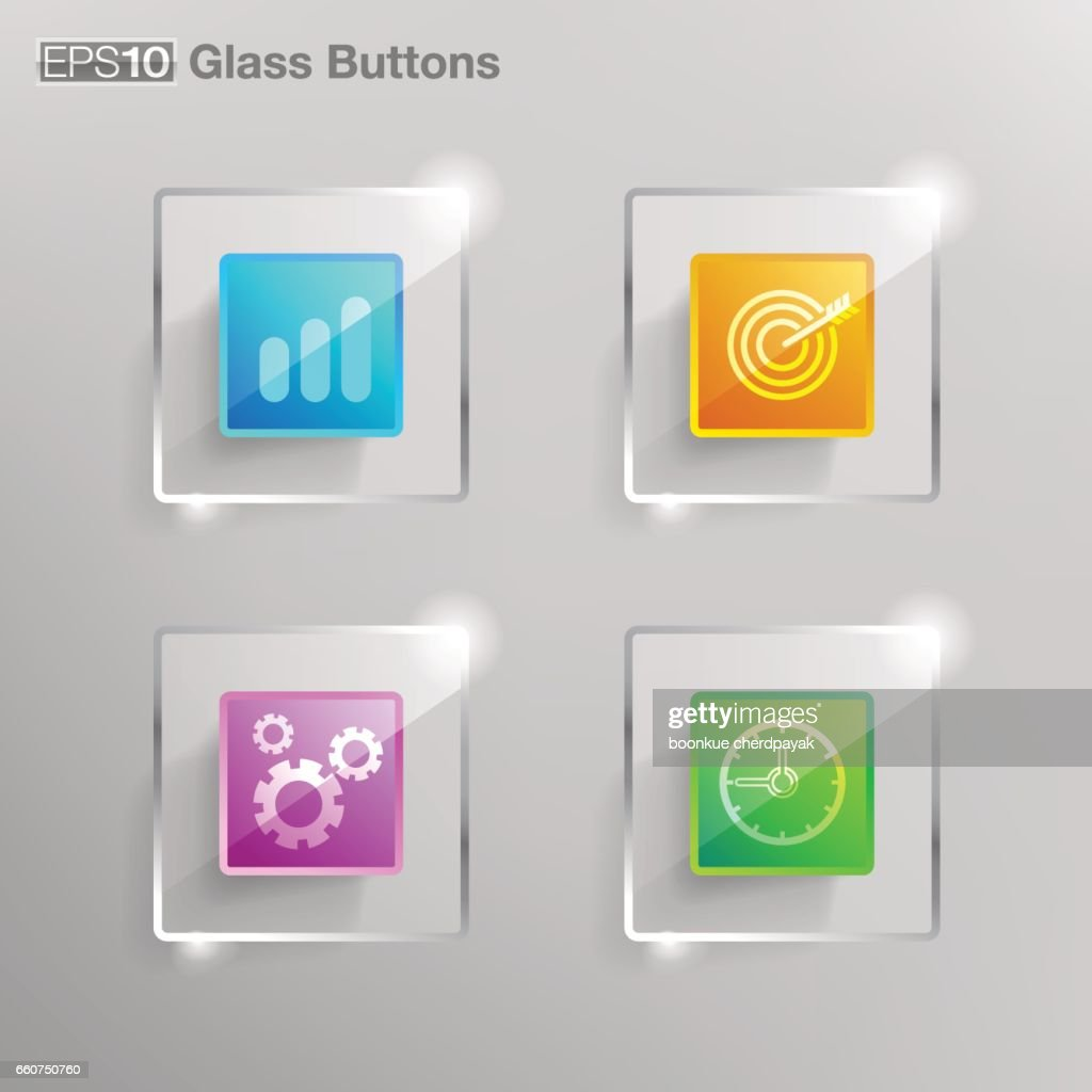 Square glass button