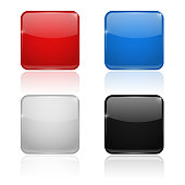 Square glass buttons. Colored set 3d icons