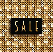 Square golden mosaic artistic background with inscription SALE.