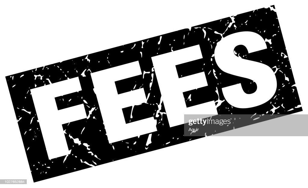 square grunge black fees stamp