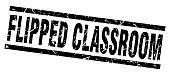 square grunge black flipped classroom stamp