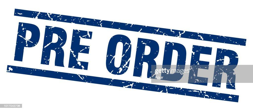 square grunge blue pre order stamp