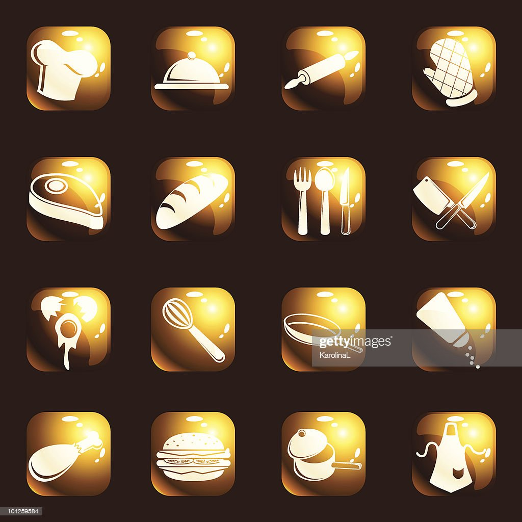 Square high-gloss cooking icons