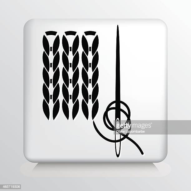 Icono negro cuadrado con aguja de tejer y costura visible