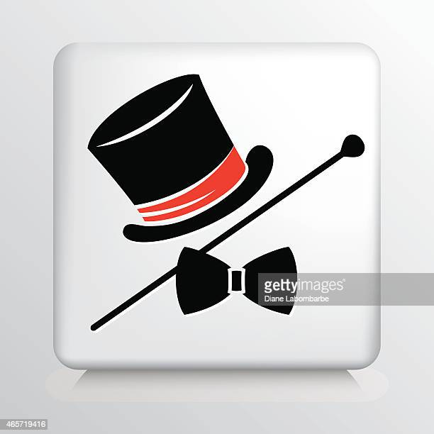 Square Icon with Magician Hat, Cane and Bow