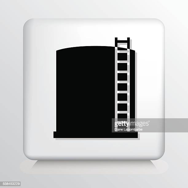 Square Icon With Oil Storage Tank