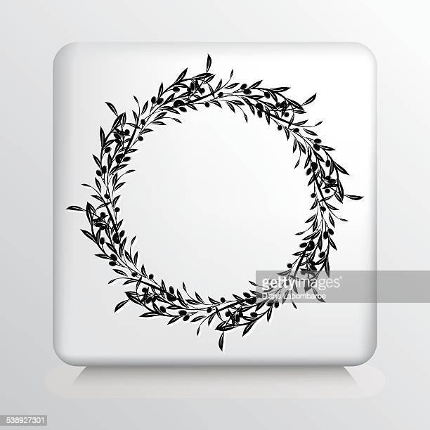 illustrations, cliparts, dessins animés et icônes de icône carrée avec branches d'olivier couronne - olivier