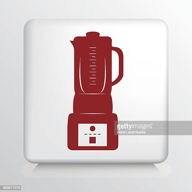 Square Icon with Red Blender Silhouette