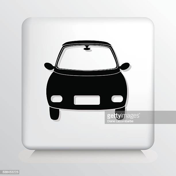 square icon with small compact car - compact car stock illustrations, clip art, cartoons, & icons