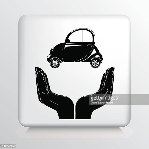 square icon with two hands cupping a small passenger car - domestic car stock illustrations, clip art, cartoons, & icons