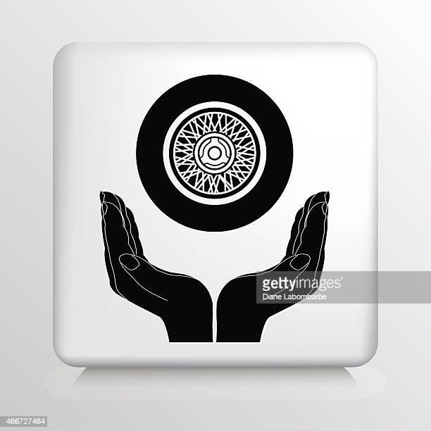 square icon with two hands cupping a  vehicle wheel - hub stock illustrations