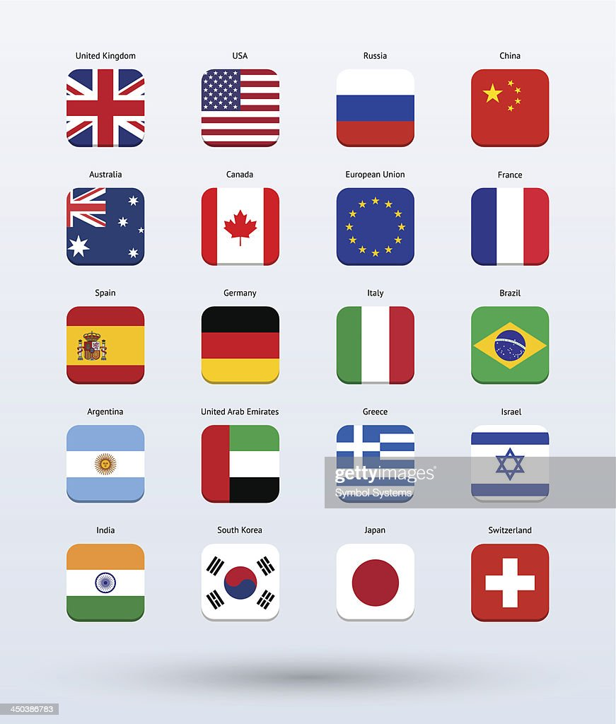 Square Icons Popular Flags Collection