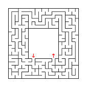 square labyrinth with an entrance an