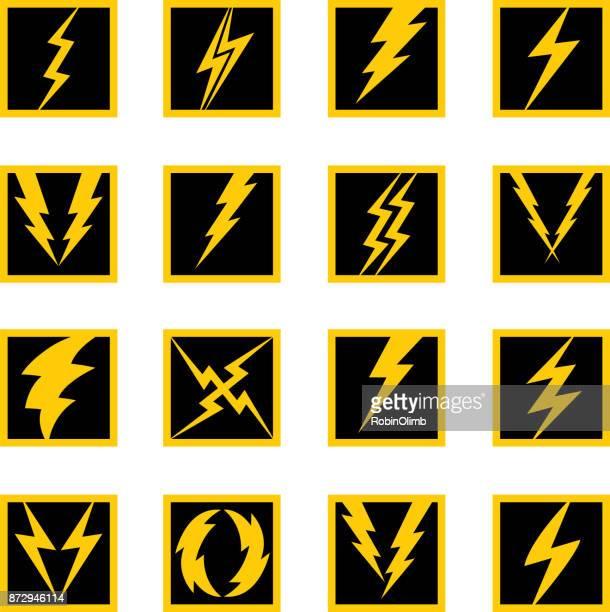 square lightning bolt icons - sparks stock illustrations, clip art, cartoons, & icons