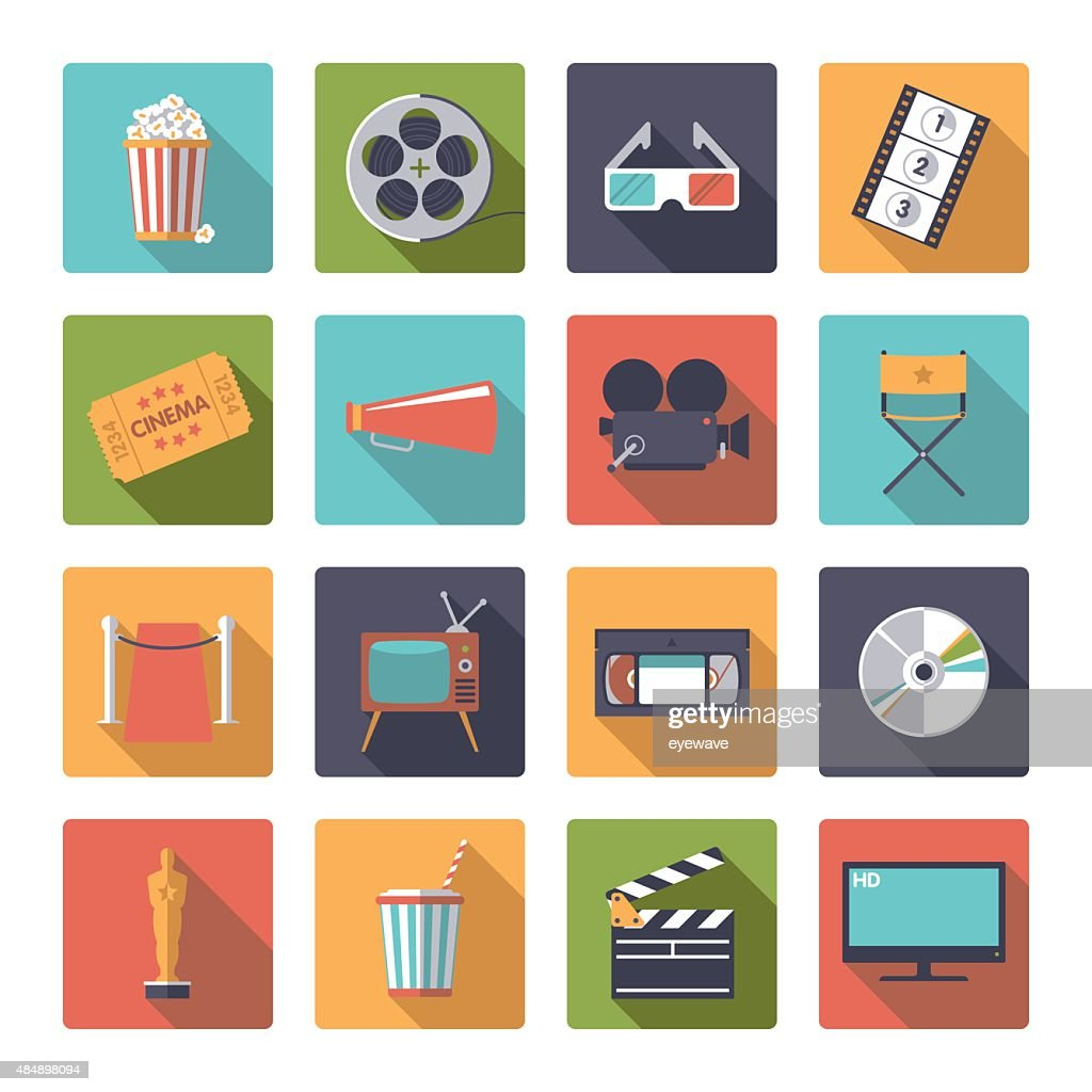 Square movie and cinema icons vector set.