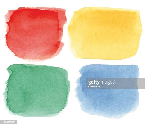 square multicolored watercolor spots - blau stock illustrations