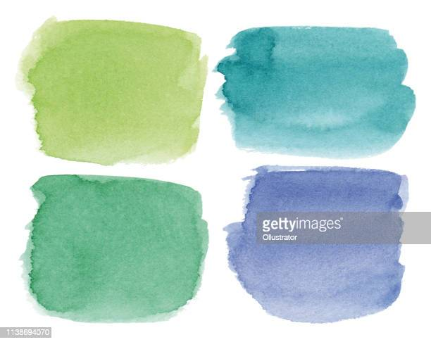 ilustrações, clipart, desenhos animados e ícones de pontos coloridos quadrados da aguarela - verde descrição de cor