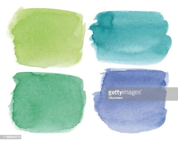 quadratische, bunte aquarellflecken - farbklecks stock-grafiken, -clipart, -cartoons und -symbole