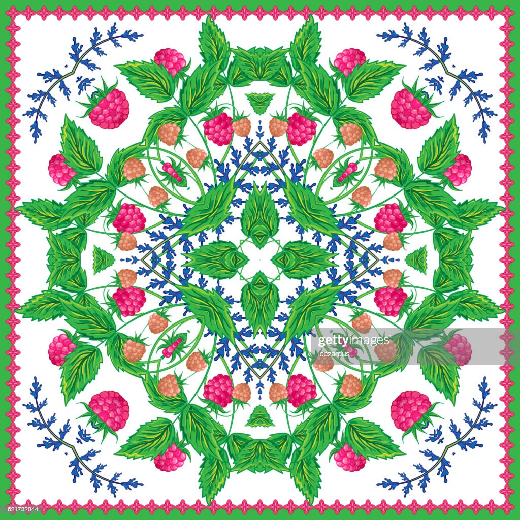 Square ornamental pattern with strawberry and leaves. Scarf background. Vector