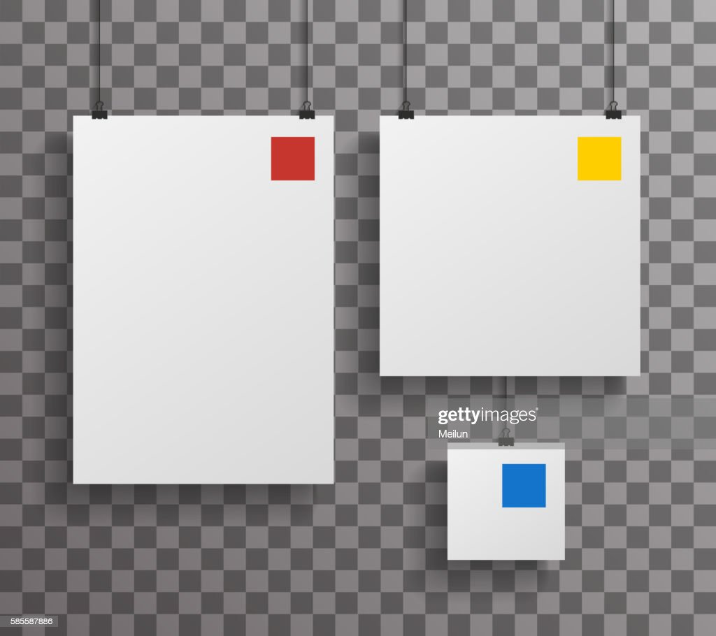 A4 Square Paper Big Little Realistic Poster Icon Set Template