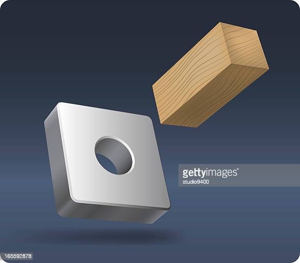 square peg in a round hole - hole stock illustrations