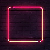 Square pink neon sign. Vector realistic neon rectangle on brick wall.