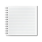 Square realistic lined notebook mockup