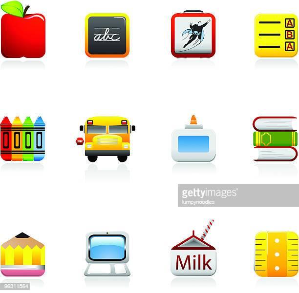 ilustraciones, imágenes clip art, dibujos animados e iconos de stock de plaza de iconos de la escuela - edificio de escuela primaria