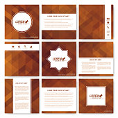 Square set of brochure.  Business, science, medicine and technology design