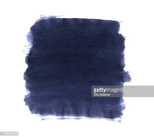 インクとブラシで作られた正方形の汚れ手 - 不均一なエッジと目に見える多層塗料アプリケーションを持つダークブルーの色合いでベクトルイラスト - 紙の真ん中odプレーンシートで隔離さ� - 染料点のイラスト素材/クリップアート素材/マンガ素材/アイコン素材