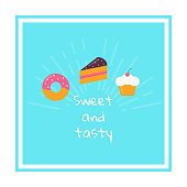 Square template sweet food theme. Vector design for banners, cards, bakery logos, cooking web sites and restaurant menu. Vector illustration in flat style.