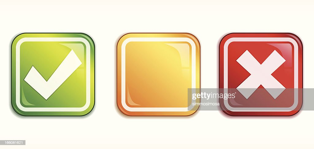 Square Tick/Cross badge set