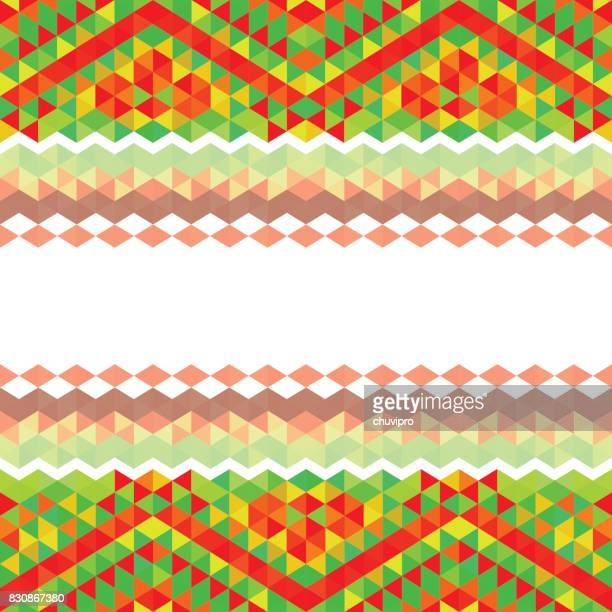 Square triangle geometric multicolored background - Red, Green, Yellow, White