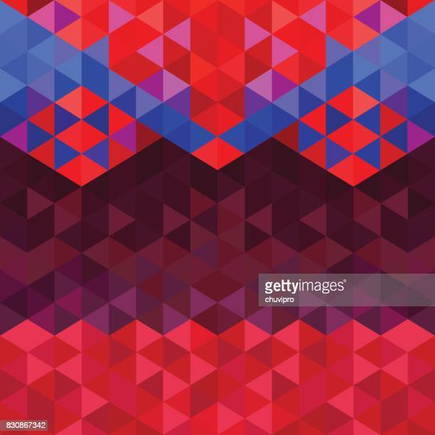 Vierkante driehoek geometrische neon tribal achtergrond - roze, blauw, Bourgondië