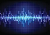 square  Vector sound waves technology background. illustration v