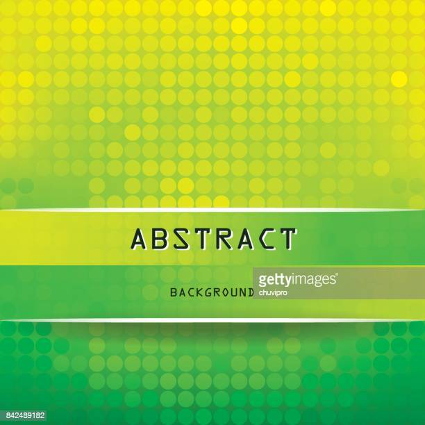Square Vibrant Abstract Background with Circles - Yellow, Green, Dark Green, White, Black